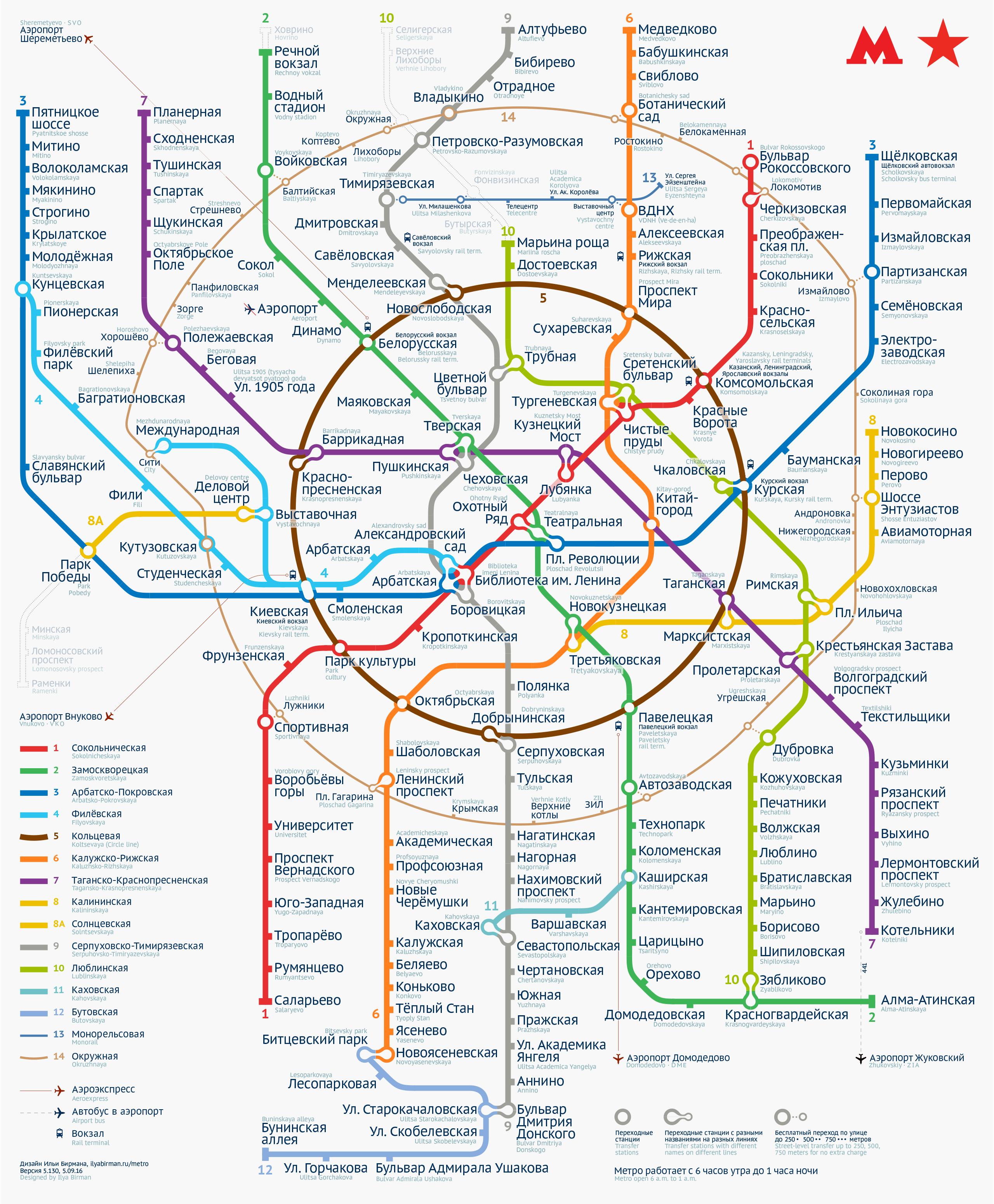 Пятая версия схемы московского метро